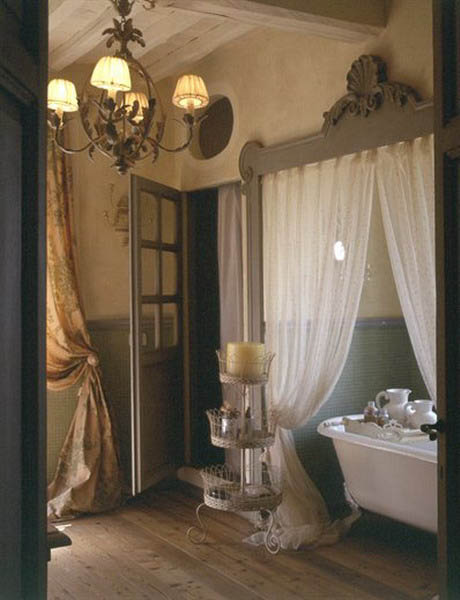 curtains works well in this french bathroom