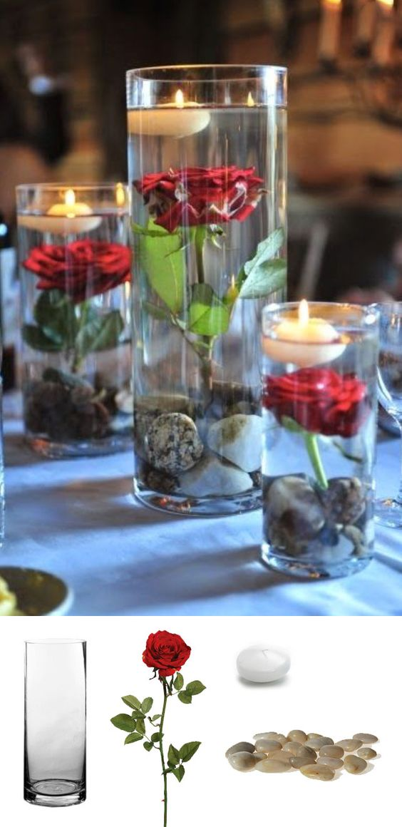 beautiful DIY whole submerged rose centerpiece idea