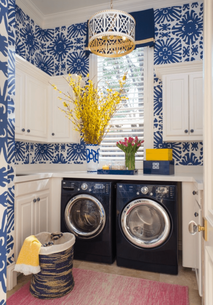 dramatic wallpaper is one of those things that can make laundry room look better
