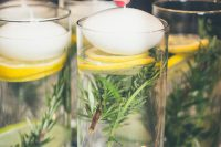 fresh summer floating candle centerpiece