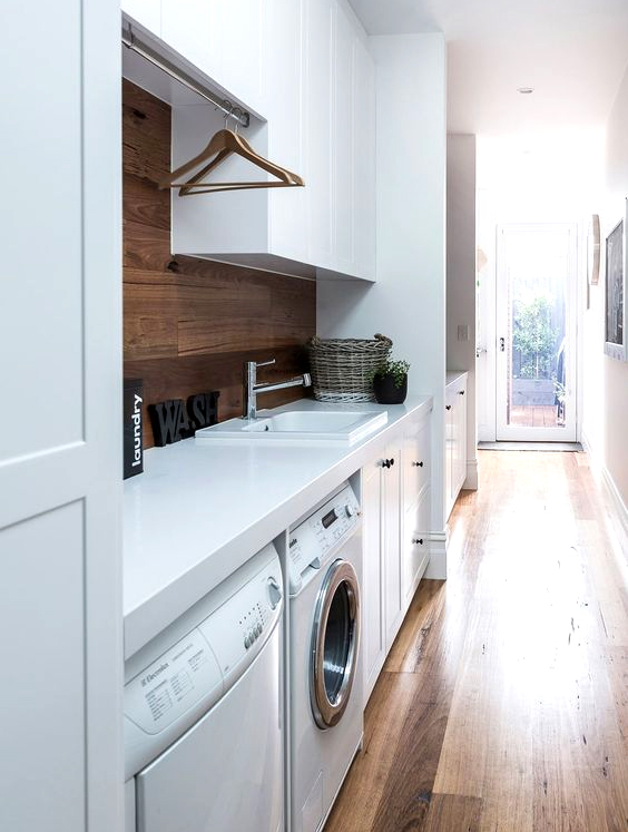 laundry room combined with a entryway is s smart idea