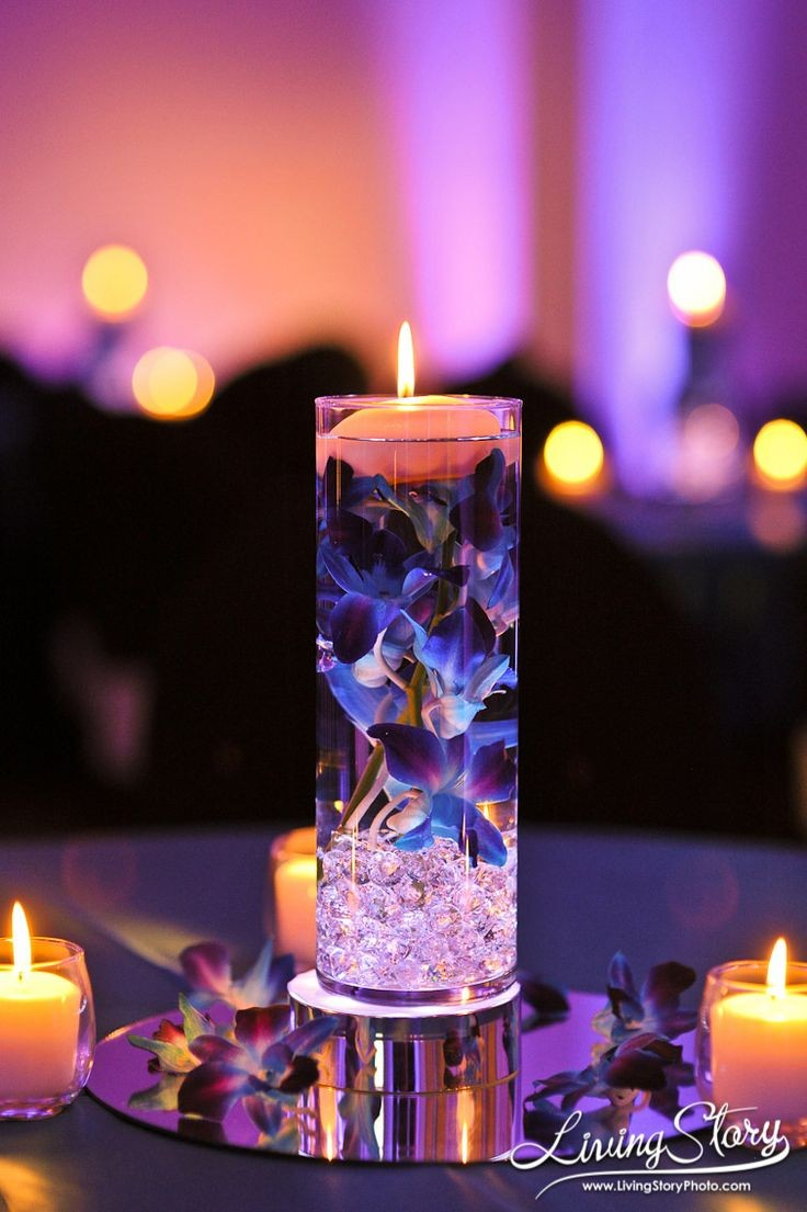 White Candle Centerpiece : Floating flowers and candles centerpieces shelterness