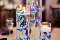 nice christmas wedding centepiece with blue submerged flowers