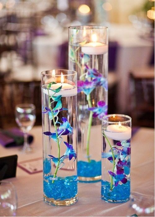 Lovely Floating New Year Wedding Centerpiece Nice Christmas Centepiece With Blue Submerged Flowers