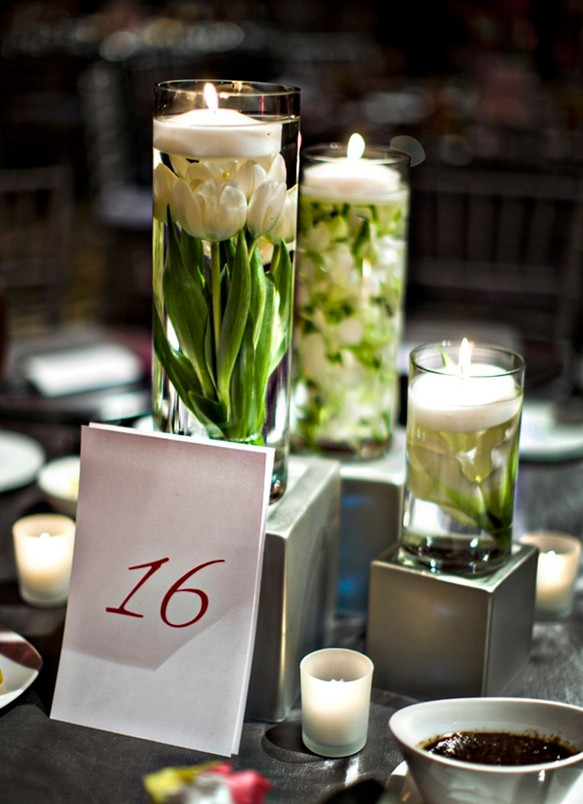 submerged tulips boquet centerpiece