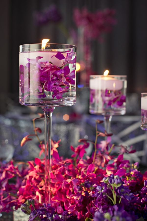 wine glass floating wedding candle centerpiece