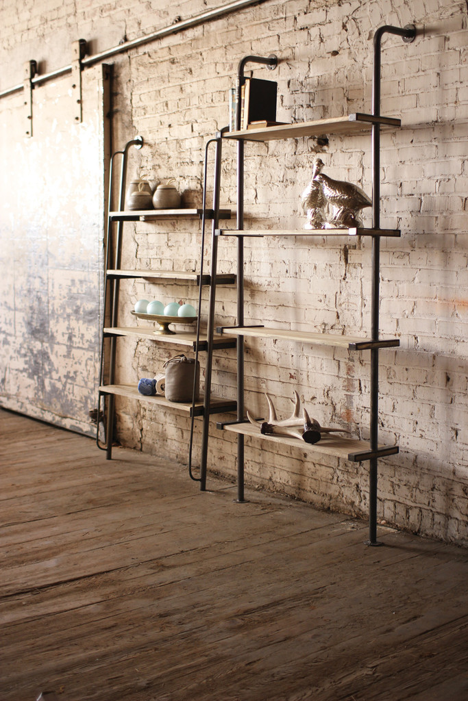 Superieur Leaning Wood And Metal Wall Shelving Unit Could Easily Be Used On A Kitchen