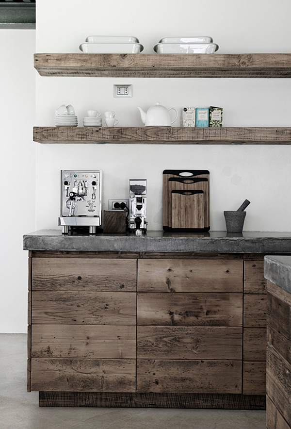 amazing rustic-stile open kitchen shelving design