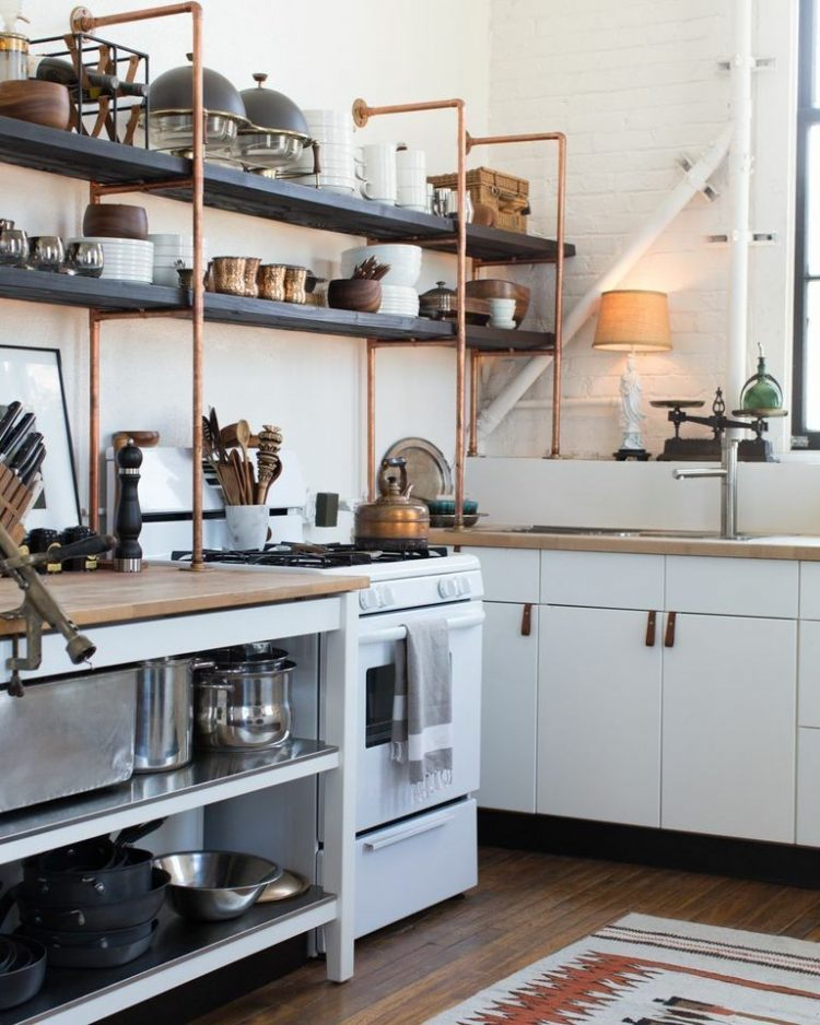 copper and wood open shelves are great additions to standard ikea kitchen cabinets. beautiful ideas. Home Design Ideas
