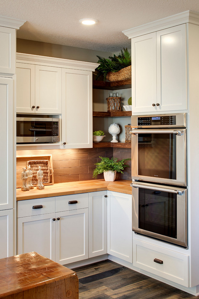 corenr wall shelves are perfect to occupy tight spaces between cabinets - Open Shelves Kitchen Design Ideas