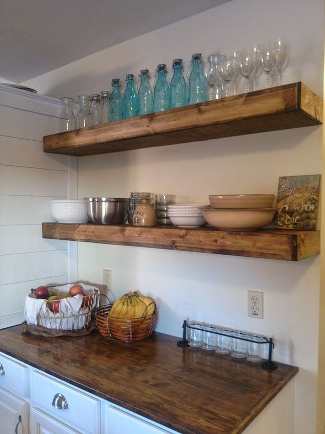faux floating shelves is an easy diy solution for kitchen storage - Open Shelves Kitchen Design Ideas