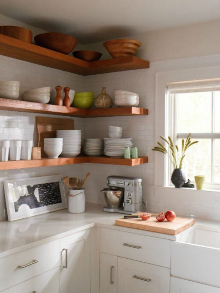 Simple floating kitchen shelves are perfect to display your stuff
