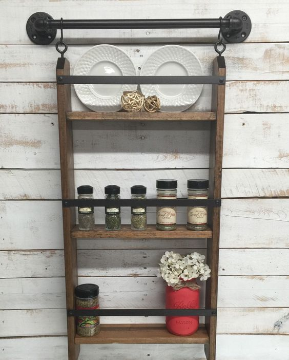 kitchen wall shelf that acts as a spice rack - Wall Mounted Kitchen Shelf