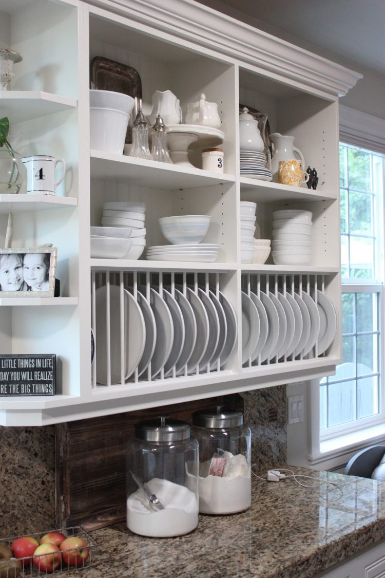 65 Ideas Of Using Open Kitchen Wall Shelves Shelterness. Kitchen Cabinet Plate Rack ... & Kitchen Cabinet Plate Rack Plans - Kitchen Cabinet Designs