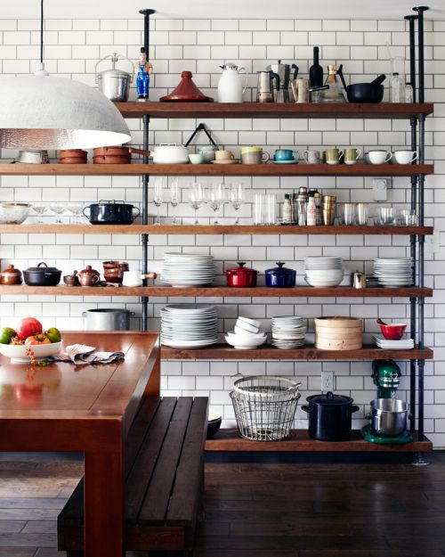 open natural wood shelves are great for farmhouse style kitchen