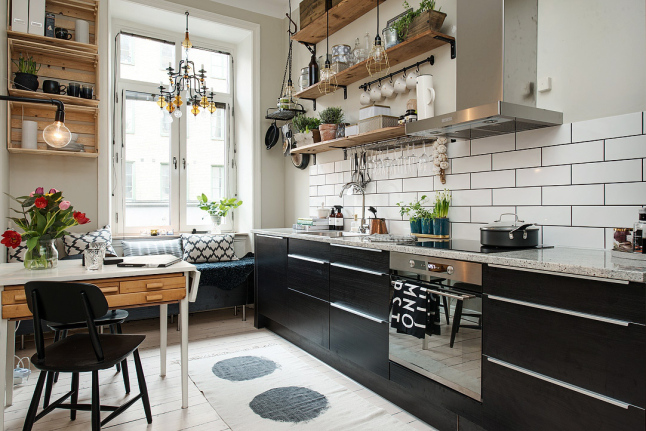 rustic wall shelves and crates make perfect kitchen upper-storage