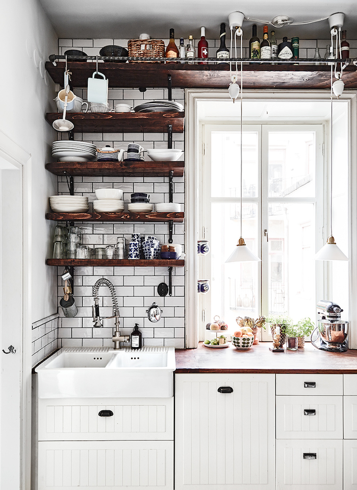 small kitchens could win from using wall shelves because they occupy even really tight spaces