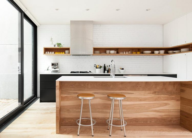 super stylish wall shelf that looks well on this minimalist kitchen