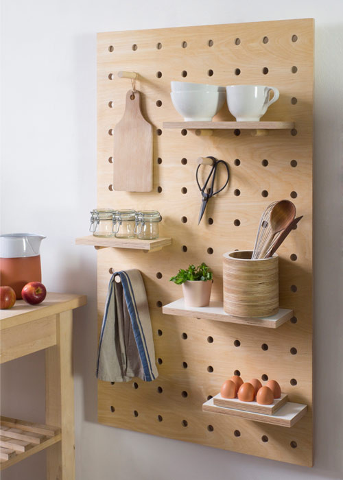 wall mounted kitchen shelves are very versatyle when you put them on a pegboard