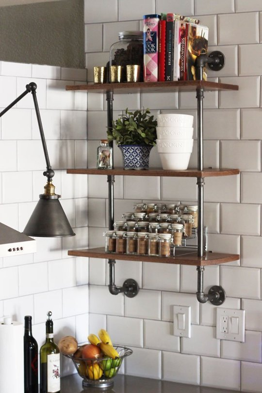 wood and plumbing-pipe shelving unit that could become your next kitchen DIY project