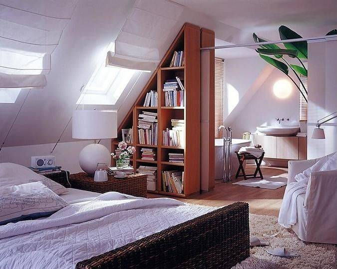 attic bedroom combined with a bathroom - Bathroom In Bedroom Design