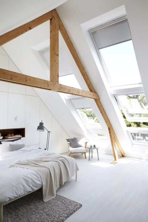 minimalist attic bedroom design with super large windows