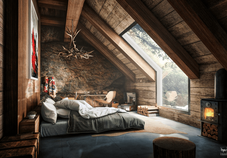 Elegant Rustic Attic Bedroom That Features Amazing Forest View