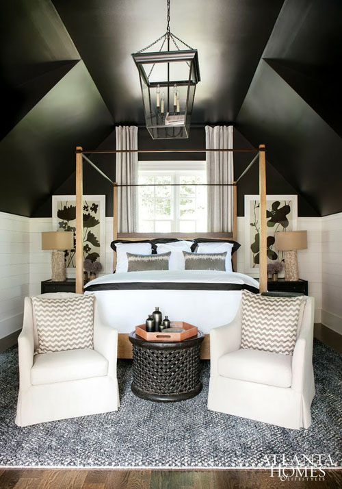 Smart Small Attic Bedroom Design With Black Ceiling