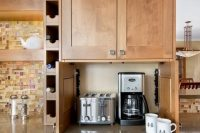 Creative storage for all these appliances is quite important for a small kitchen