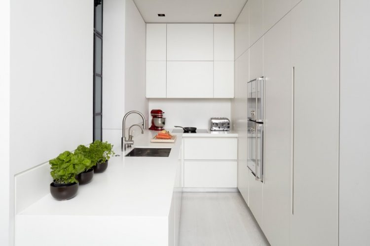 All white is a way to go for a narrow kitchen