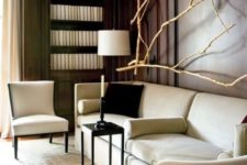 a stunning wall decoration fully made of bleached branches is a cool idea to enliven  such a formal space