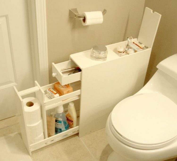 Creative Storage Idea For A Small Bathroom Organization - Bathroom racks and shelves for small bathroom ideas