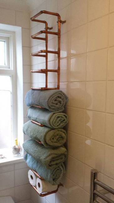 clever towel storage for small bathroom idea - Towel Storage