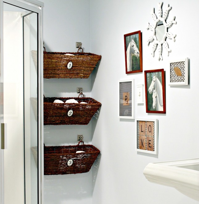 Hanging Baskets Is A Very Smart Idea To Help You With Storage In A Small Bathroom