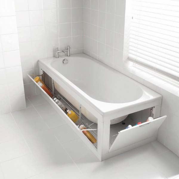 hidden under the bathtub storage is easy to make