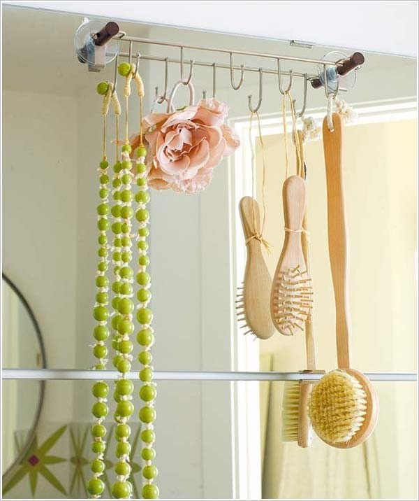 hooks are very useful in bathroom organization - Diy Small Bathroom Storage