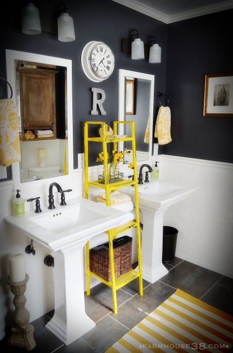 Superb Ladder Is A Cool Pedestal Sink Storage Solution Photo Gallery