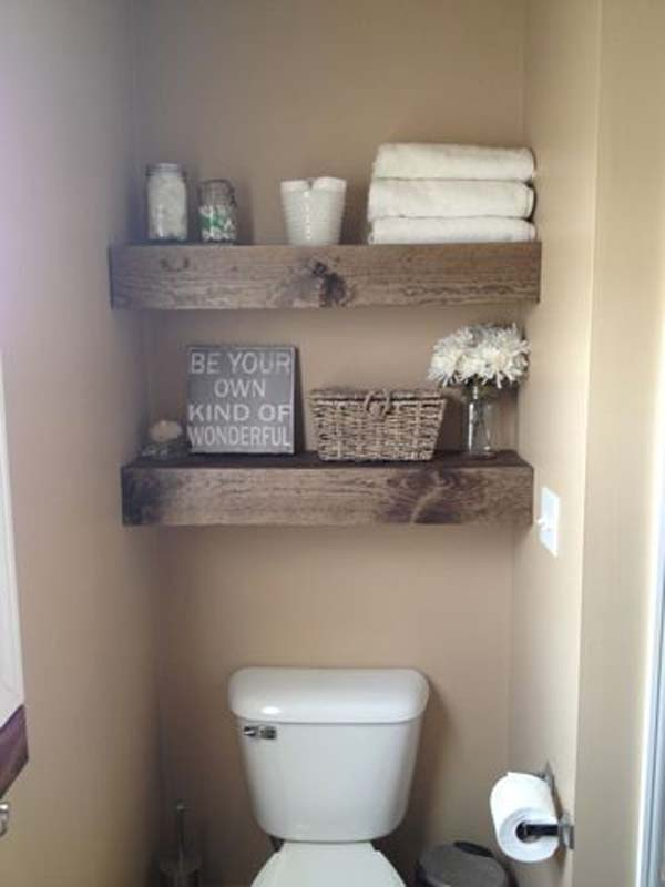 rustic looking floating shelves can easily be hanged above your toilet - Diy Small Bathroom Storage