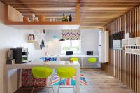 wood strips make any room cozy even if they are on a ceiling