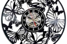 a black laser cut butterfly wall clock is a bold idea yet in a classic monochromatic color scheme