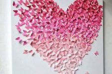 a romantic Valentine's Day wall art of an ombre heart made of 3D paper butterfles