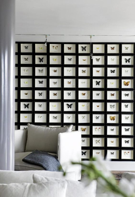 a statement gallery wall of black frames all attached to each other and faux butterflies that stand out