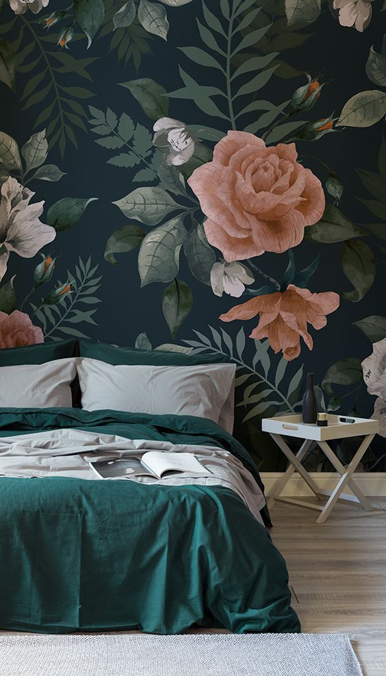 dark floral wallpaper for an accent in the moody space, a touch of elegant print