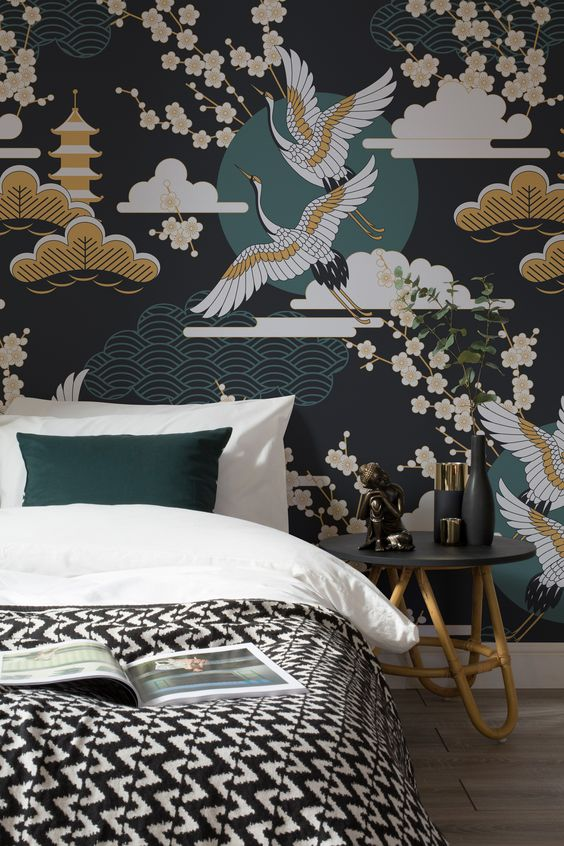 dark whimsical print wallpaper is a bold idea to add a pattern and an Asian feel to the space
