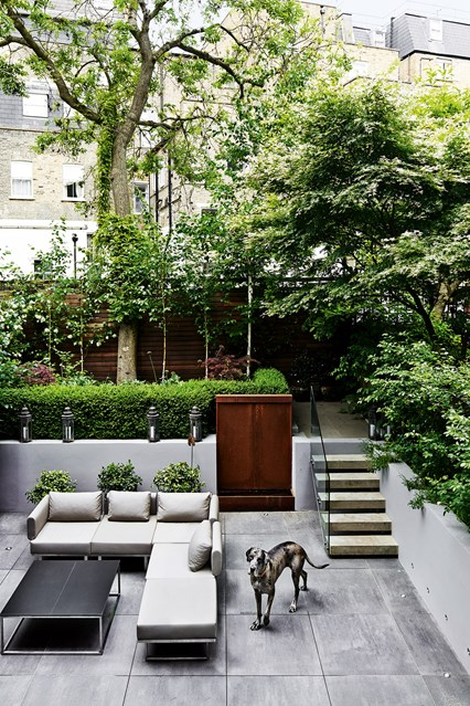 Small But Very Modern Urban Garden With Concrete Pavers