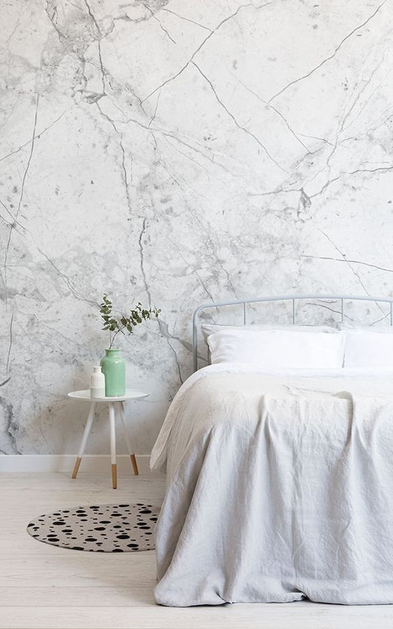 white marble wallpaper is a trendy touch and a chic idea to spruce up your bedroom in a chic modern way