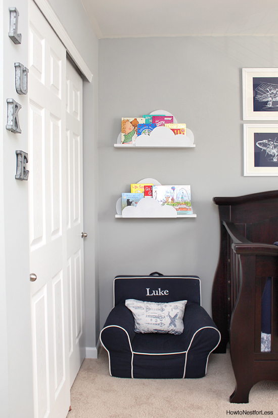 DIY cloud bookshelf ledges could display as kids books as family photos. (via howtonestforless)