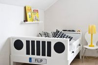 You can also build a DIY car bed. For example that could be a bunk bed shaped like a tractor.