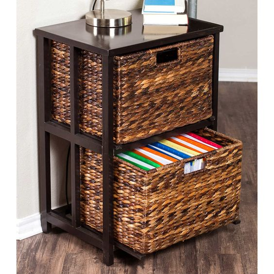 a side table with wicker drawers is a creative rustic idea for any farmhouse-themed space