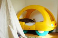 a small car is a great transitional bed between crib and big-boy bed